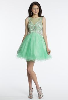 Camille La Vie Short Illusion Prom Party Dress