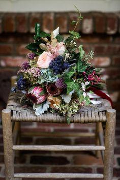 Astilbe, garden rose, protea bouquet // Nyk + Cali