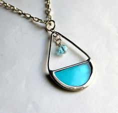 Stained Glass Marquis Necklace  Pick Your Color by LAGlass on Etsy, $26.00