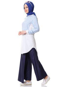 Armine Gömlek Yakalı Tunik 6Y4130 Mavi
