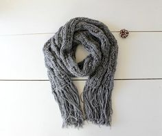 Knit scarf. Handmade Grey and silver cowl. Chunky  by CheriDemeter