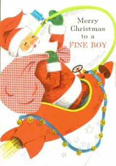 Vintage Hallmark Christmas Card Santa Claus by TheVintageGreeting, $5.45