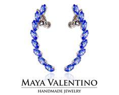 Handmade Jewelry Boutique Online shop by MayaValentino Prom Earrings, Sapphire Earrings, Cuff Earrings, Bridal Earrings, Climbing Earrings, Jewelry Model, Selling Jewelry, Designer Earrings, Jewelry Trends