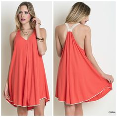 Criss cross back dress with lace straps in coral