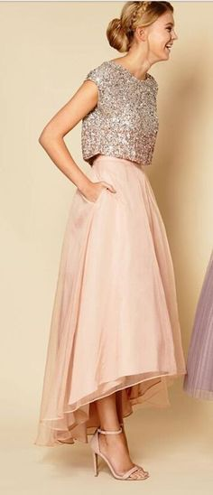 Shining Two Piece Prom Dress Women Clothing Prom Dress pink homecoming dresses party - Vestiti - Mode İdeen Pink Prom Dresses, Pretty Dresses, Beautiful Dresses, Bridesmaid Dresses, Formal Dresses, Wedding Dresses, Homecoming Dresses, Sparkle Dresses, Bridesmaid Separates