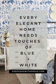10 Blue and White Decor Ideas - Gorgeous with Grace Blue And White Fabric, Blue And White China, White Home Decor, Unique Home Decor, Blue Gray Bedroom, White Rooms, White Aesthetic, White Houses, Elegant Homes