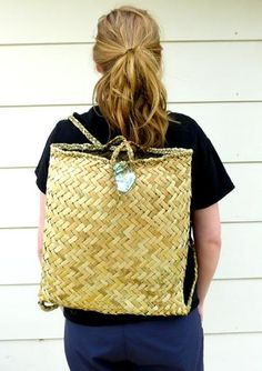Natural Maori Kete Backpack