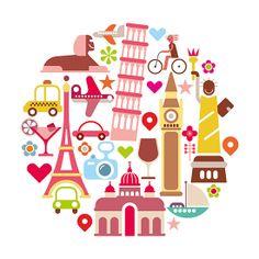Travel vector icon set