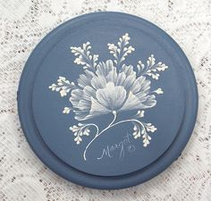 Hand Painted Round Blue Box with Textured MUD Flowers and Rhinestone Bling. $65.00, via Etsy.
