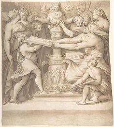 """Joseph Heintz the Elder - Figures Adoring a Statue of the """"Magna Mater"""".  (Swiss, Basel 1564–1609 Prague)."""