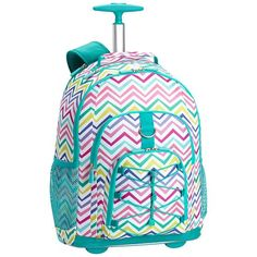 Gear Up Multi Chevron Print Rolling Backpack
