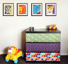 Safari nursery prints for baby & child. Any 4 modern prints of jungle zoo animals theme for kids rooms and playrooms