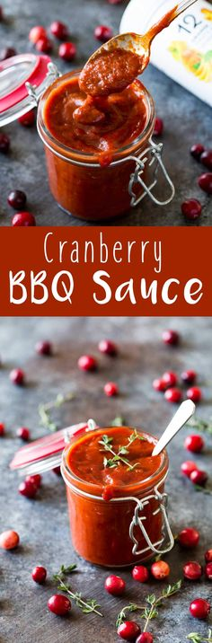 I kept licking the spoon! This was so good.  Easy Cranberry BBQ Sauce is a seasonal favorite with a smoky, tangy, delicious flavor, and perfect for pairing with chicken, shrimp, or beef. #ad #Blendfresh