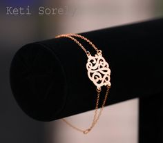 Designer Personalized Initials Bracelet With Double Chain (Order Any Initials) -14K Rose Gold and Sterling Silver