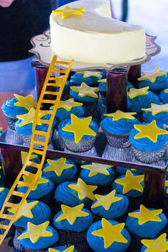 """Moon cake and star cupcakes! """"Papa, Please Get The Moon For Me""""  Eric Carle, First Birthday Party"""
