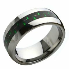 8mm Mens Green and Black Carbon Fiber Inlay Tungsten Ring Sizes 8 to 12 Kriskate & Co.. $29.99