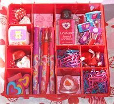 Decorating storage boxes - a cute idea for a new college student. Add pens, paper clips, push pins, hand sanitizer, or other small items needed in a dorm room.