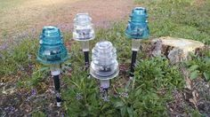 Glass insulator solar lights!! Great for walk ways and gardens! Four pack!!