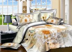 Noble Peony and Butterfly Print 4-Piece Cotton Duvet Cover Sets on sale, Buy Retail Price Floral Bedding Sets at Beddinginn.com