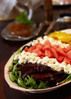 Roasted Beet and Watermelon Salad with Chèvre. Entertaining: Southern Brunch, with Recipes | Traditional Home