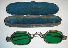 Antique Eye Glasses Green Sun Glasses Civil War Era with Coffin Case | eBay