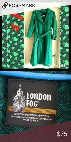 HP💐London Fog☔Raincoat☔Forest Green 💚BEAUTIFUL AUTHENTIC LONDON FOG💚 raincoat,☔fully lined with REMOVABLE lining. Shoulder pads, belt,pleat in back...FOREST GREEN Size 8 reg. Very Stylish.💢🌟🌹⚡ ALL REASONABLE OFFERS CONSIDERED🍀 HP by @duttykangaroo 10/8 London Fog Jackets & Coats