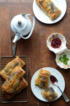 Savory Camembert Turnovers with Honey-Roasted Turkey and Lingonberry Jam Recipe, easier to make than you might think and perfect for breakfast or with tea.