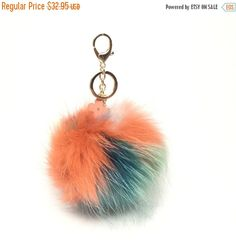 NEW Collection Dimensional Swirl Multi Color Raccoon Fur Pom Pom bag charm clover flower charm keychain piece no.287