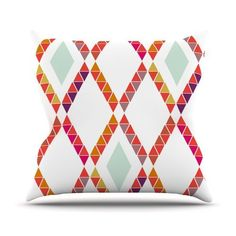 68 X 80 Kess InHouse Pellerina Design Coral Mint Triangle Weave Orange Teal Wall Tapestry