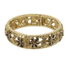 Покупайте в любых интернет-магазинах вместе с LiteMF!  Featuring a gold-tone bracelet with black enamel flowers all around. A fabulous piece that adds instant style to any outfit.