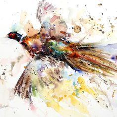 PHEASANT Abstract Watercolor Print by Dean by DeanCrouserArt, $25.00