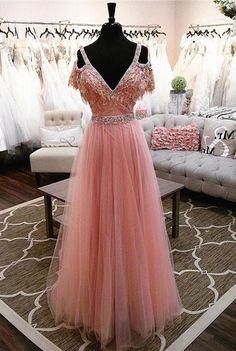 Buy High Fashion A-Line V-Neck Off Shoulder Blush Pink Long Tulle Prom Dresses with Beads in uk.Shop our beautiful collection of unique and convertible long Prom dresses from PromDress.uk,offers long bridesmaid dresses for women in the UK. V Neck Prom Dresses, Dresses Short, Prom Dresses 2017, Tulle Prom Dress, Cute Dresses, Dress Long, Gowns 2017, Pink Dresses, Beautiful Dresses