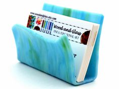 Hey, I found this really awesome Etsy listing at http://www.etsy.com/listing/108751476/business-card-holder-fused-glass-art