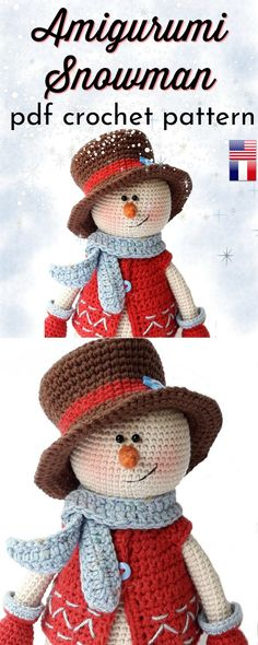 Super adorable crochet pattern for this sweet amigurumi snowman. Lovely crochete… Super adorable crochet pattern for this sweet amigurumi snowman. Crochet Christmas Gifts, Crochet Christmas Decorations, Holiday Crochet, Crochet Gifts, Free Christmas Crochet Patterns, Knit Gifts, Handmade Christmas Presents, Crochet Patterns Amigurumi, Crochet Dolls