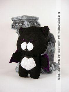 Black Purple Nyanpire Neko Keychain Charm Plush by SWStitchery, $16.00