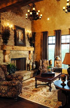 Old world splendor meets modern luxury; I love the rich fabric & wood decor in this living room
