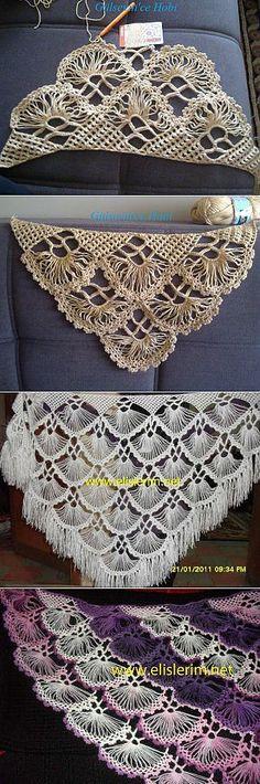 Изящная шаль на линейке | Шали, палантины и шарфы | Брумстик | Постила