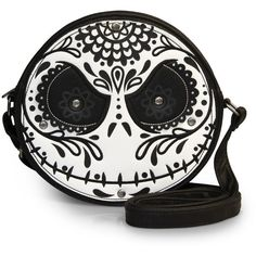 The Nightmare Before Christmas Sugar Skull Jack Diecut Crossbody ($50) ❤ liked on Polyvore featuring bags, handbags, shoulder bags, vegan leather purse, skull handbag, vegan purses, crossbody handbags and christmas purses