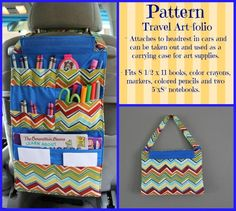 This listing is for the TUTORIAL/PATTERN to make your own Travel Art-folio for your child. Easy step by step instructions with plenty of Kids Crafts, Diy Craft Projects, Crayon Organization, Car Seat Organizer, Crayon Holder, Pencil Holder, Sewing To Sell, Book Holders, Vide Poche
