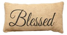 Blessed - Small Jute Burlap Accent Throw Pillow 12-in x 8-in * Want additional info? Click on the image.