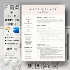 Professional Resume Template. Three Page Resume Template for Sales Assistant. Customizable CV Layout for Word and Pages | Eirify Cover Letter Format, Cover Letter For Resume, Cover Letter Template, Resume Layout, Resume Format, Administrative Assistant Resume, Resume Writing Tips, Simple Resume, References Page