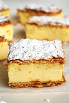 Custard Slice, Polish Recipes, Polish Food, Little Cakes, Bakery Recipes, Love Cake, Afternoon Tea, Vanilla Cake, Cheesecake