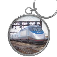Amtrak Acela 2016-6250 Horsepower of SPEED Silver-Colored Round Keychain; $22.15 - #stanrail -  Premium Round Keychain ; Add images and text to this elegant silver-colored round keychain and carry your loved ones with you everywhere you go. The waterproof, UV coating means your images will look like new for years. Great gifts for all your family and friends.  @stanrails_store