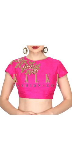 Buy this Pink blouse adorn in zari in rose motif only on Kalki