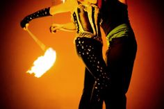 Dancers perform with fire at Perforce's holiday party.