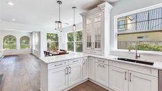 Custom Kitchen Cabinets, Custom Cabinetry, Glass Subway Tile Backsplash, Home Improvement Companies, Hardwood Floors, Flooring, Home Renovation, Cool Kitchens, Contemporary Design