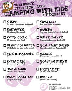 Checklist!  Camping with kids at Jellystone in Robert, La