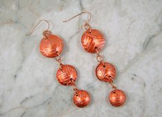 Rolling mill printed copper domed discs earrings with alcohol ink added for color. Alcohol Ink Painting, Alcohol Inks, Beaded Jewelry, Handmade Jewelry, Rolling Mill, Lampwork Beads, Salmon, Glass Beads, Coloring