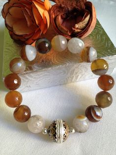 Brown ribbed agate faceted bracelet 12mm & round enamel 925 Silver…