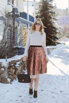 Jazz up a classic crew neck with a sequin skirt | theglitterguide.com